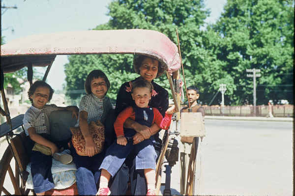 Delhi, c. 1956  Lee, Betsy, Ruth Woodman holding Jane, in horse-drawn tonga. This street looks empty, by today's standards. Photo credit: Woodman Family Collection