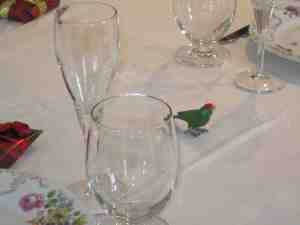 Parrot among the glasses